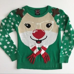 Well Worn Holiday Sweater Rudolph Glasses Size M